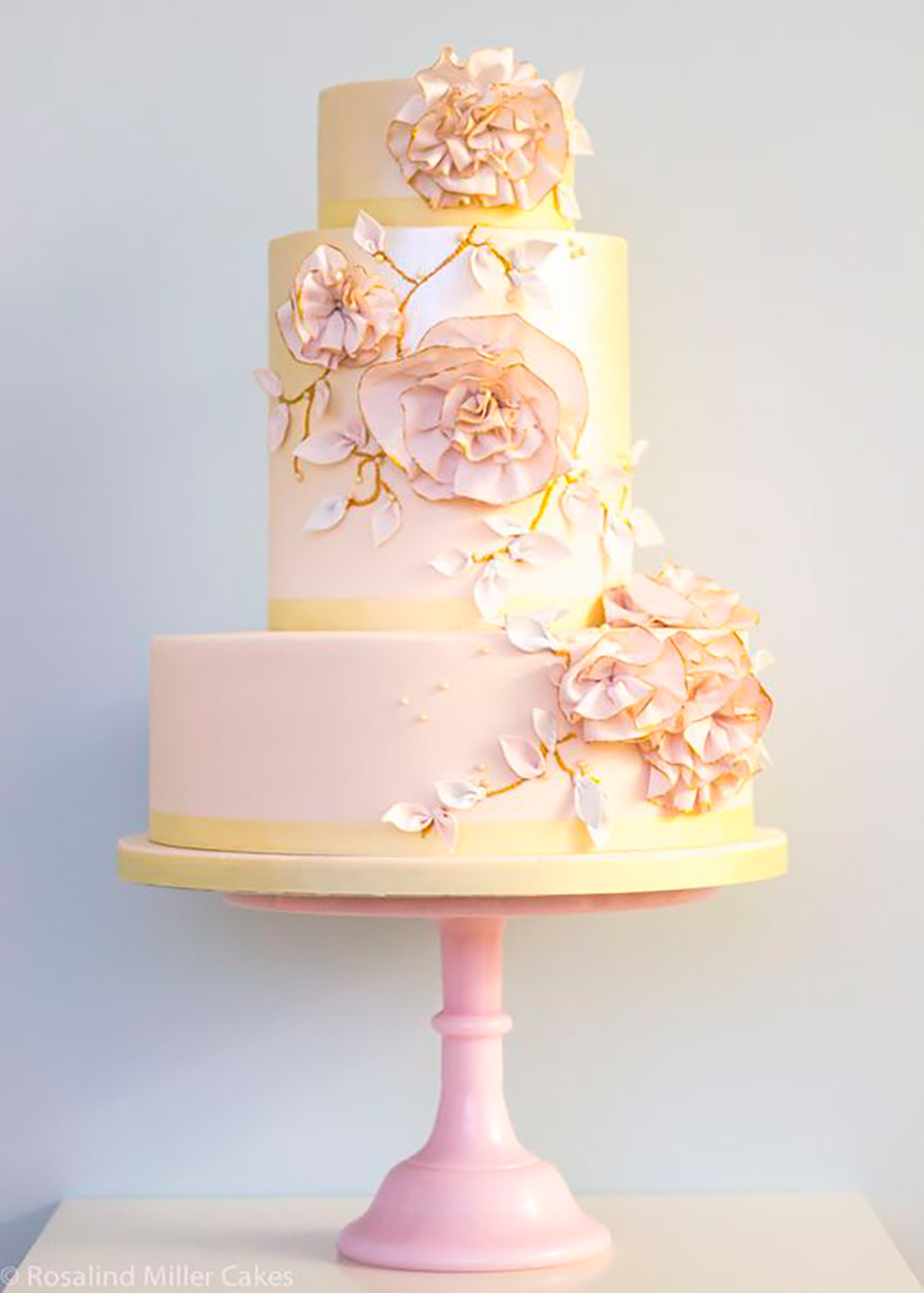 Wedding ideas by colour: pastel pink wedding cakes - Ruffled flowers | CHWV