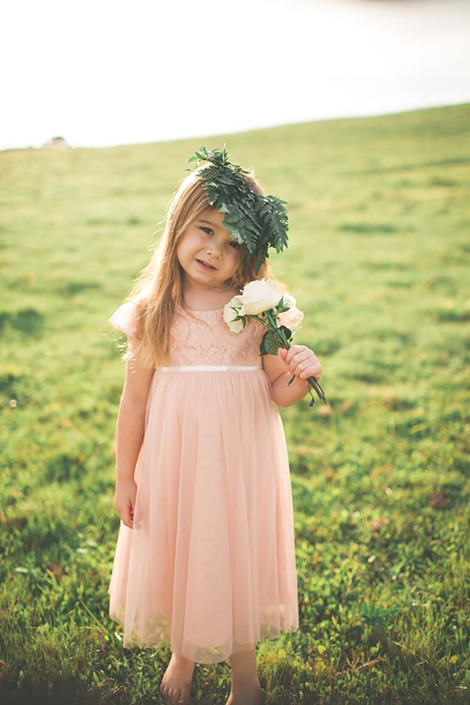 Wedding ideas by colour: Peach bridesmaids dresses - Flower girl | CHWV