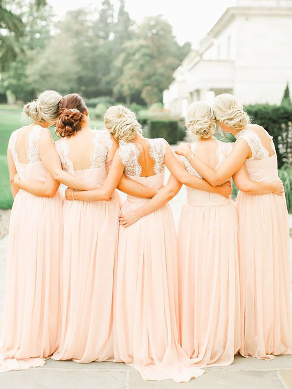 Wedding ideas by colour: Peach bridesmaids dresses - Lace | CHWV