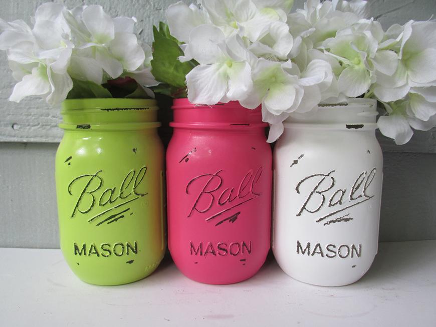 Wedding Ideas By Colour: Pistachio Green Wedding Theme - Flowers in jars | CHWV