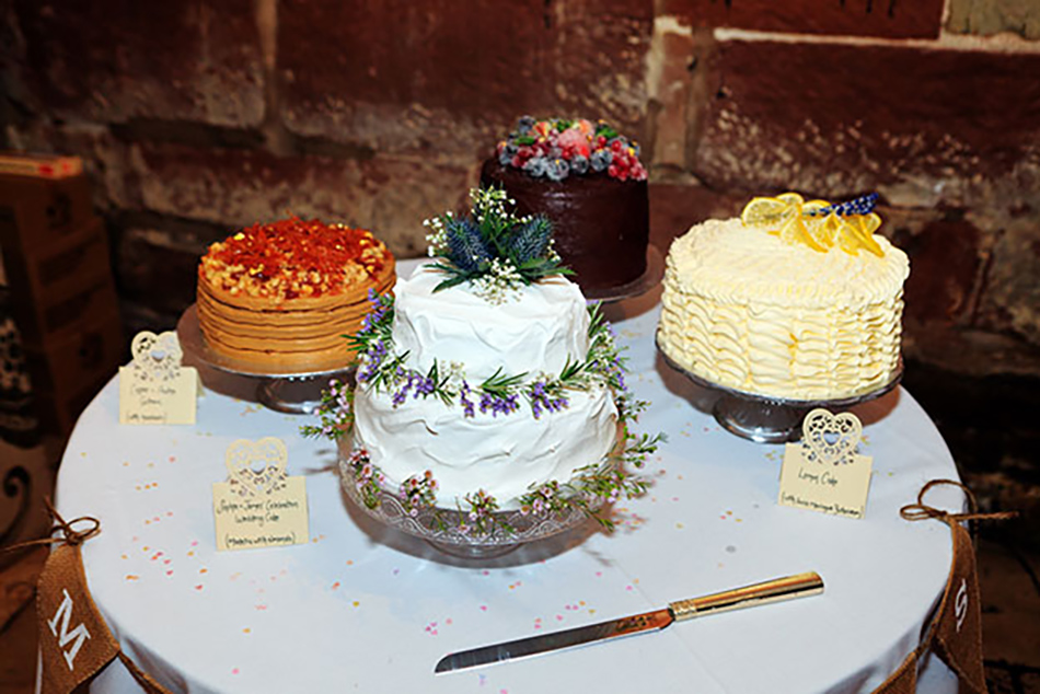Sophie and James real life wedding at Curradine Barns - Wedding cakes   CHWV