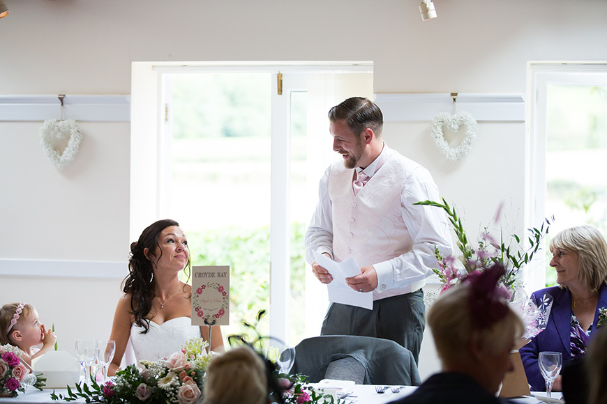 Steph and Daniel at Parkfields Country House speeches | CHWV