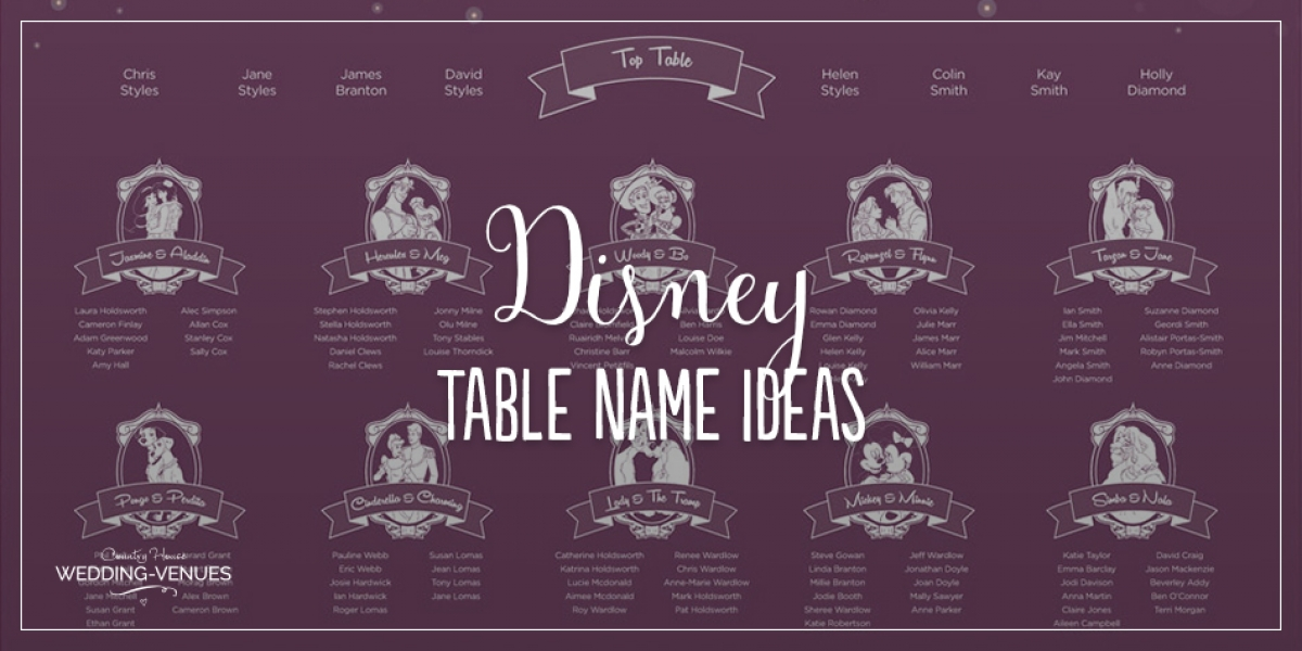 Wedding Table Name Ideas: Disney | CHWV