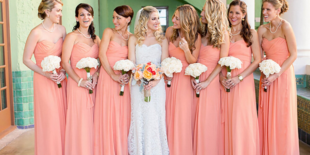Wedding ideas by colour: Peach bridesmaids dresses | CHWV