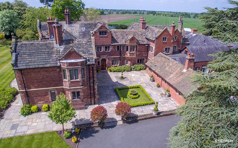 An aerial view of Colshaw Hall wedding venue in Cheshire | CHWV