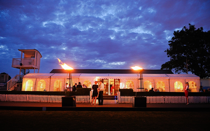 The marquee at Ham Polo Club at night