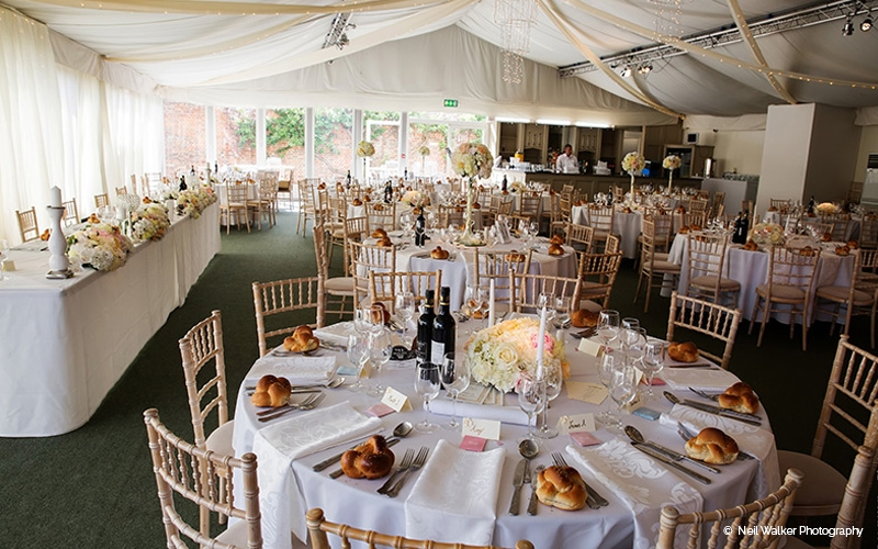 Marquee wedding reception at Braxted Park in Essex