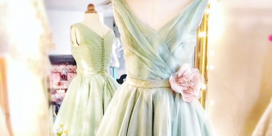Wedding ideas by colour - pastel green wedding dress | CHWV