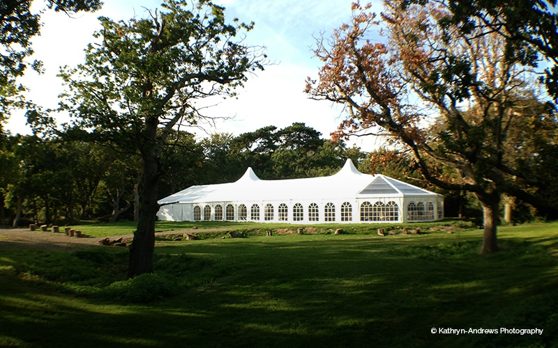 The marquee in the grounds at Tournerbury Woods Estate in Hampshire