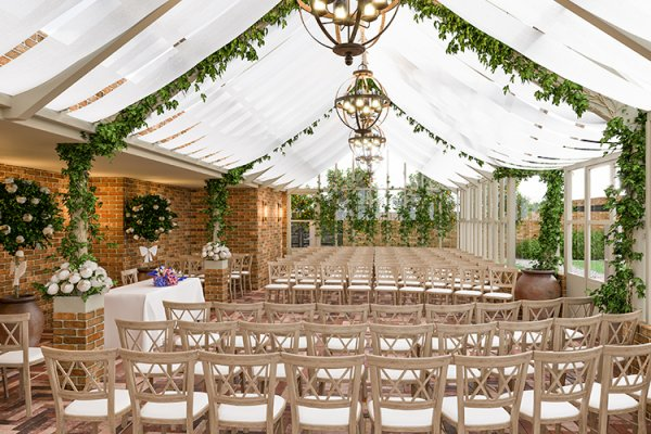Set up for a wedding ceremony at Syrencot barn wedding venue in Wiltshire | CHWV