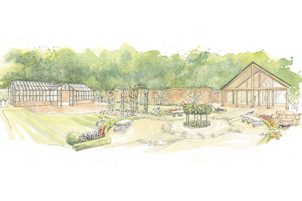 A watercolour illustration of Syrencot barn wedding venue in Wiltshire | CHWV