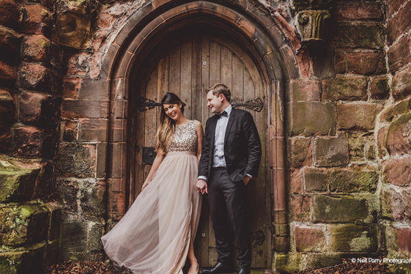 A happy couple taking a moment at Old Palace Chester wedding venue in Cheshire | CHWV