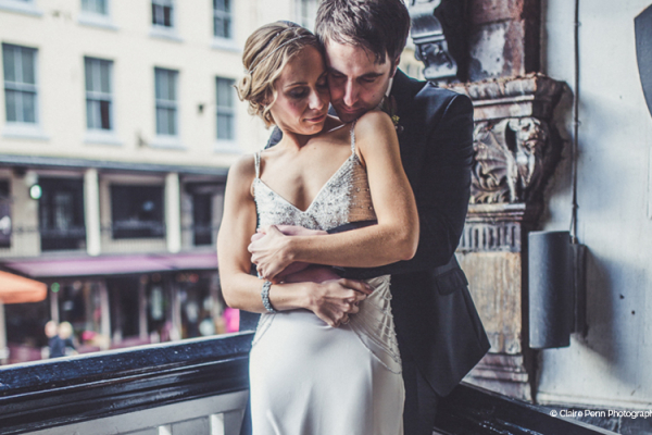 A couple take a moment near Old Palace Chester wedding venue in Cheshire | CHWV