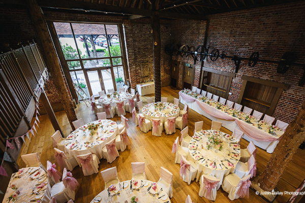 The Mill Barn dressed for a wedding reception