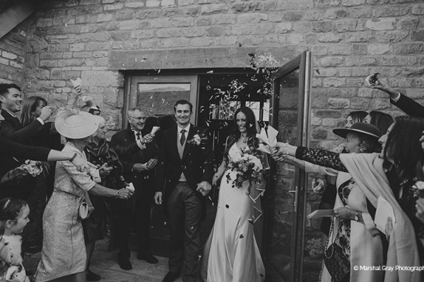 Just married in The Thatch Barn at Blackwell Grange barn wedding venue in Warwickshire | CHWV