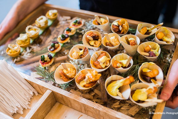 Delicious canapes from Galloping Gourmet at Blackwell Grange barn wedding venue in Warwickshire | CHWV