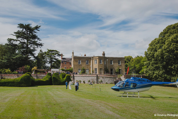 Arrival by helicopter at Burton Court