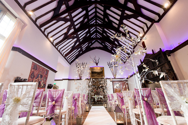 The Great Hall set up for a ceremony at Burton Court wedding venue in Herefordshire | CHWV