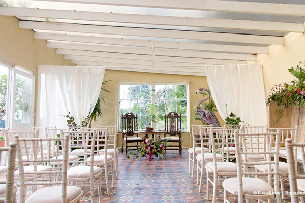 The Garden Room set up for a ceremony at Burton Court wedding venue in Herefordshire | CHWV