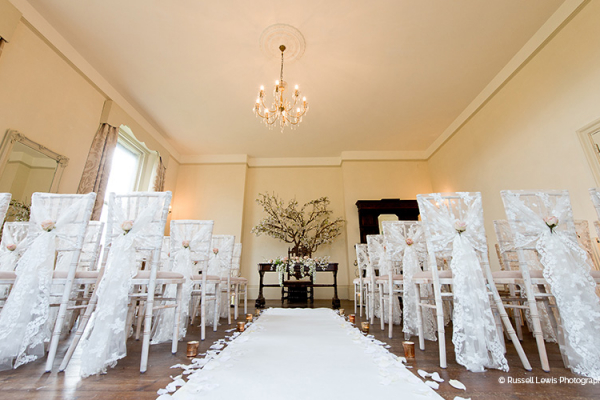 The Edwardian Room set up for a ceremony at Burton Court wedding venue in Herefordshire | CHWV