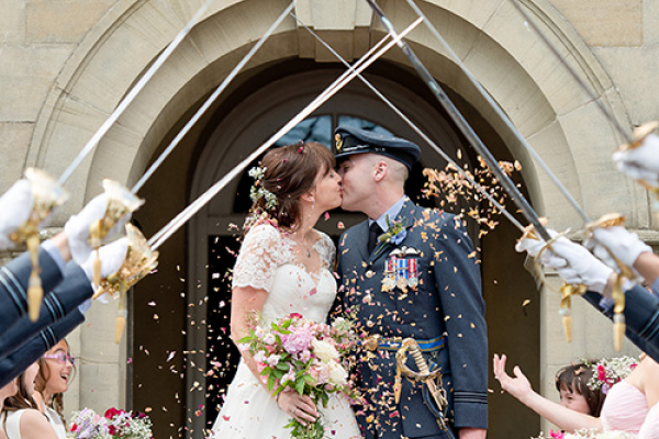 Just married confetti at Burton Court wedding venue in Herefordshire | CHWV