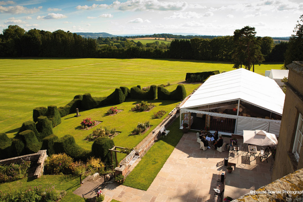 The marquee and gardens at Burton Court wedding venue in Herefordshire | CHWV