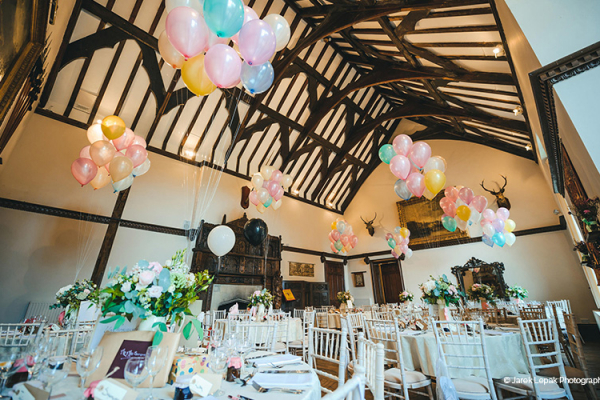 The Great Hall set up for a wedding breakfast at Burton Court wedding venue in Herefordshire | CHWV