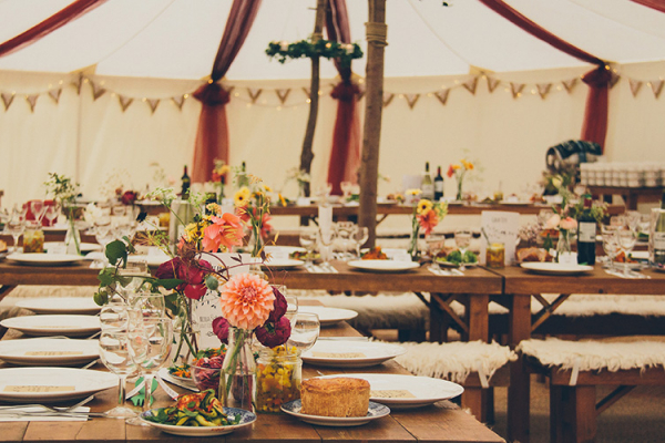 The Marquee set up for a wedding breakfast at Burton Court wedding venue in Herefordshire | CHWV