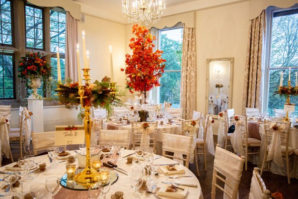 The Edwardian Room set up for a wedding breakfast at Burton Court wedding venue in Herefordshire | CHWV