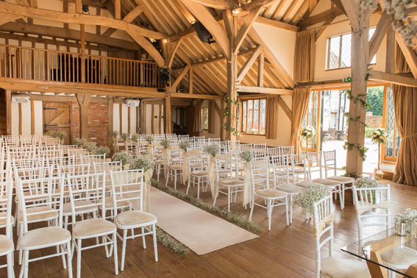 The Music Room set up for a ceremony at Cain Manor wedding venue in Surrey | CHWV