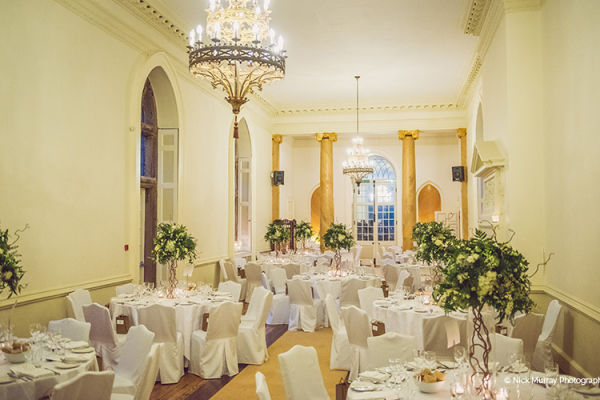 Set up for a wedding breakfast at Clearwell Castle wedding venue in Gloucestershire | CHWV