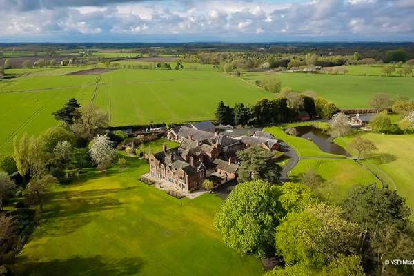 An aerial view of the grounds at Colshaw Hall wedding venue in Cheshire | CHWV