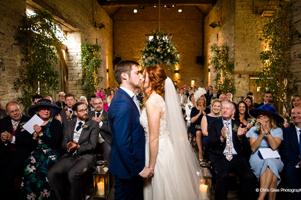 A wedding ceremony at Cripps Barn wedding venue in Gloucestershire | CHWV