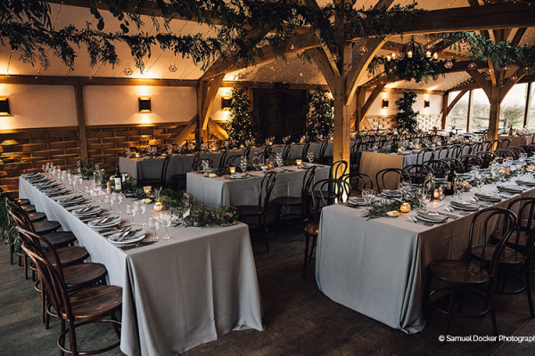 Set up for a wedding breakfast at Cripps Barn wedding venue in Gloucestershire | CHWV