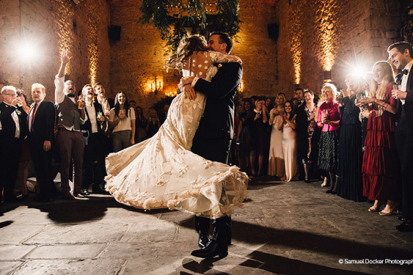 A romantic first dance at Cripps Barn wedding venue in Gloucestershire | CHWV