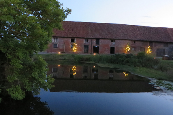 Crows Hall wedding venue at dusk