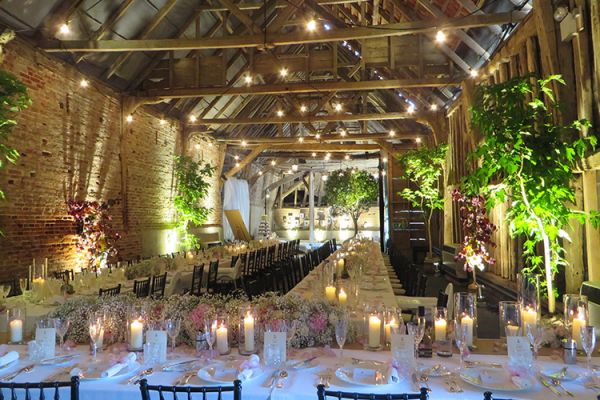 Crows Hall in Suffolk set up for a wedding reception | CHWV