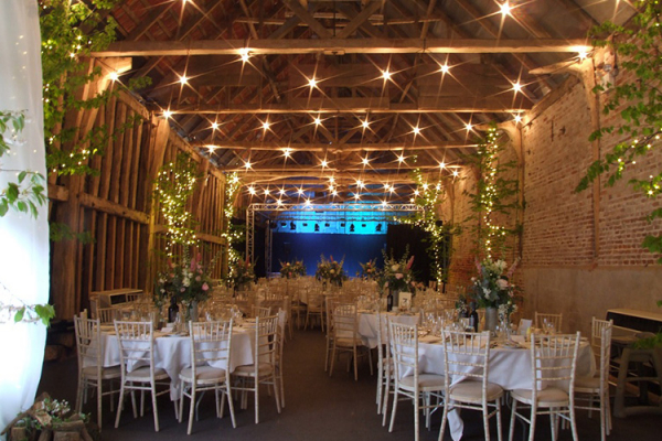 Set up for a wedding reception at Crow's Hall wedding venue in Suffolk | CHWV
