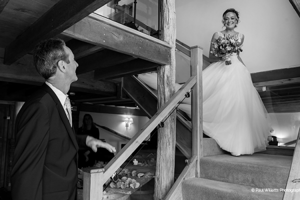 A father sees his daughter at Curradine Barns wedding venue in Worcestershire | CHWV