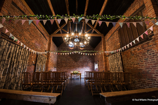 Set up for a ceremony at Curradine Barns wedding venue in Worcestershire | CHWV
