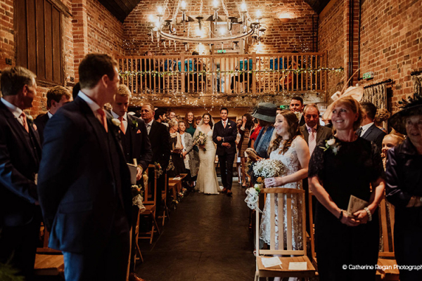 A romantic wedding ceremony at Curradine Barns wedding venue in Worcestershire | CHWV