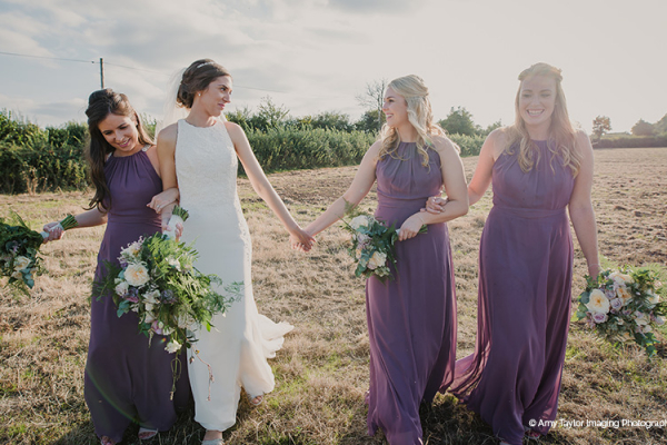 Bride and her bridesmaids at Curradine Barns wedding venue in Worcestershire | CHWV