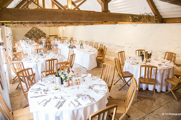 Set up for a wedding breakfast at Curradine Barns wedding venue in Worcestershire | CHWV