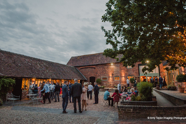 The Courtyard in the Evening at Curradine Barns | Wedding Venues Worcestershire