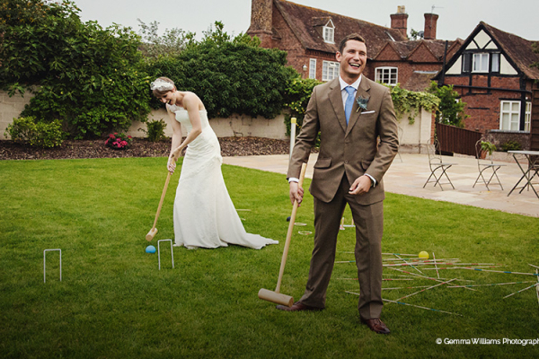 Garden games on the lawn at Curradine Barns