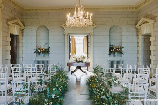 Set up for a wedding ceremony at Davenport House country house wedding venue in Shropshire | CHWV