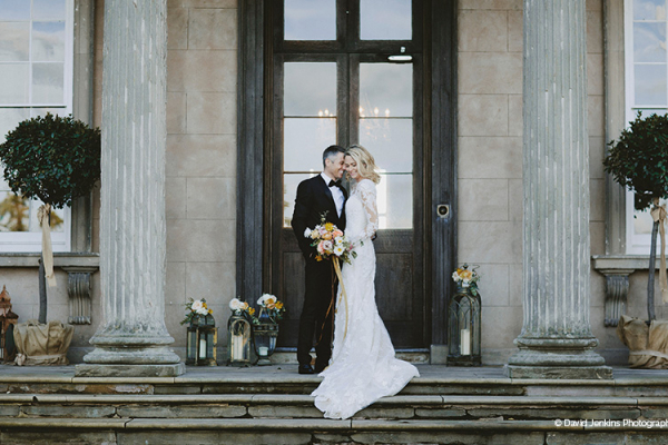 A couple taking a moment at Davenport House country house wedding venue in Shropshire | CHWV