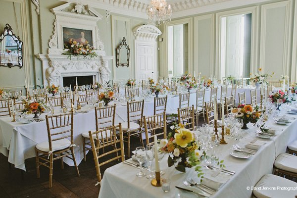 Set up for a wedding breakfast at Davenport House country house wedding venue in Shropshire | CHWV