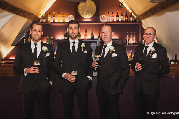 Groomsmen at the bar in Dodmoor House