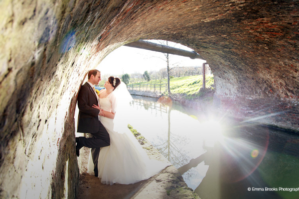 A happy couple alongside the Union canal at Dodmoor House